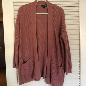 Mauve Pink Knitted Oversized Cardigan